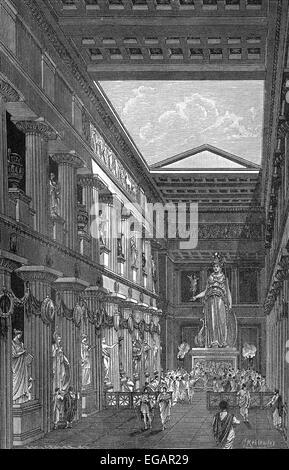 Rekonstruktion des Parthenon-Tempels, Innenansicht, gewidmet der griechischen Göttin Pallas Athene Parthenos auf der Akropolis ich