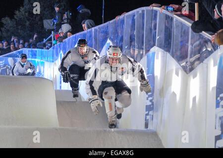 Belfast, Nordirland. 20. Februar 2015. Red Bull Crashed Ice Team Wettbewerb Credit: Stephen Barnes/Alamy Live-Nachrichten - Stockfoto