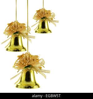 Gold Weihnachtsglocken isoliert auf weißem Hintergrund - Stockfoto