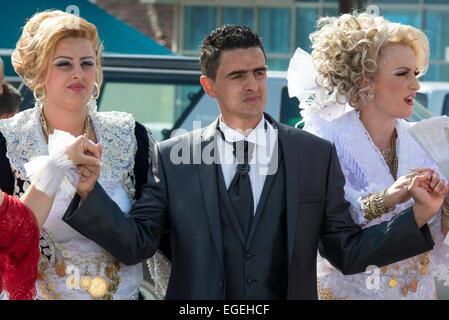 Der Bräutigam, albanische Hochzeit, Dragash - Stockfoto