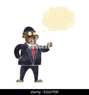 Cartoon vernünftige Geschäftsmann in Melone mit Gedankenblase - Stockfoto