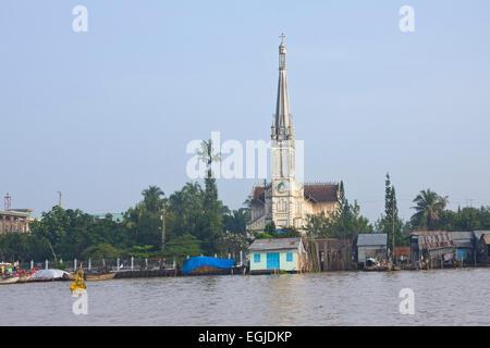 Katholische Kirche im Mekong-Delta auf dem Mekong, Cai werden, Süd-Vietnam, Vietnam, Südostasien - Stockfoto