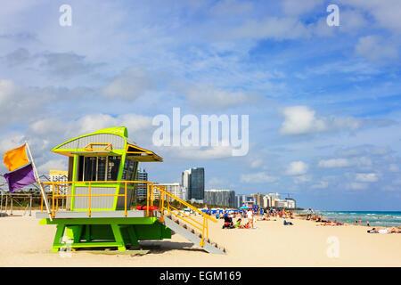 Rettungsschwimmer Tierheim am South Beach, Ocean Drive, Miami, Florida, Amerika - Stockfoto
