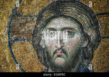 Deësis Mosaik aus ca. 1261, und befindet sich in der kaiserlichen Schließung der oberen Galerien der Hagia Sophia. - Stockfoto