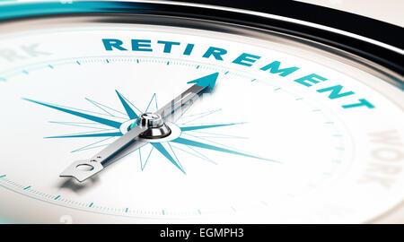 Kompass mit Nadel deuten das Wort Ruhestand, Konzept Bild veranschaulichen Ruhestand planen - Stockfoto