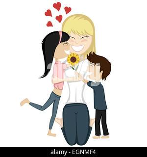 Eine süße schwarzhaarige Mädchen und einen braunen Jungen überraschen ihre blonde Mutter. - Stockfoto