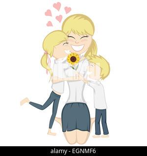 Eine süße blonde Mädchen und jungen überraschen ihre blonde Mutter. - Stockfoto