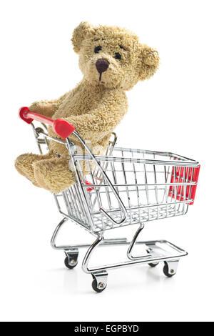 der Teddybär mit Warenkorb - Stockfoto