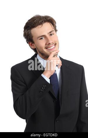 Junge froh, dass Exekutive schauen zuversichtlich auf einem weißen Hintergrund isoliert - Stockfoto