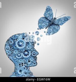 Menschlichen Denkens und künstliche Intelligenz Konzept als Symbol für ein Roboterkopf und Schmetterling geformt - Stockfoto