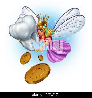 Zahnfee-Charakter als eine mythische und magische Prinzessin tragen einen goldenen Pinsel Zahnkrone aus einem Kindheit - Stockfoto