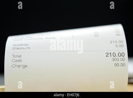 Nahaufnahme von Eingang Papier von einem restaurant - Stockfoto