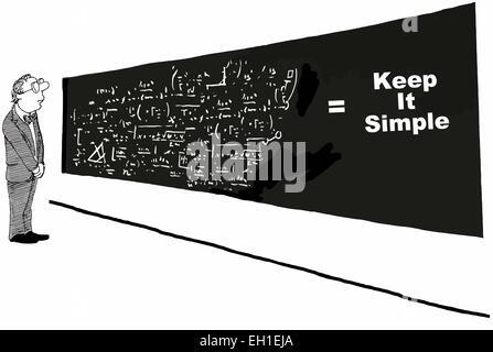 Cartoon des Geschäftsmannes betrachten komplexe Gleichungen, wo ist die Lösung: halten Sie es einfach. - Stockfoto