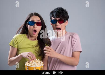 Junges Paar 3D Film - Stockfoto