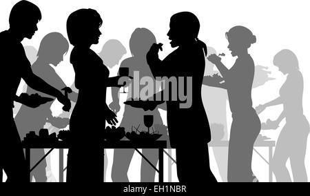 EPS8 bearbeitbare Vector Silhouetten von Menschen genießen ein Buffet mit allen Zahlen als separate Objekte - Stockfoto