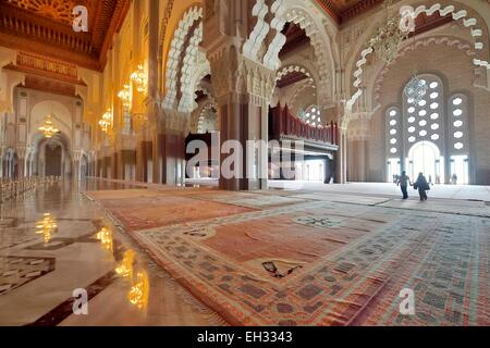 Marokko, Casablanca, Grand Moschee Hassan II, der zunehmenden Obergeschoss ist für Frauen gewidmet. - Stockfoto