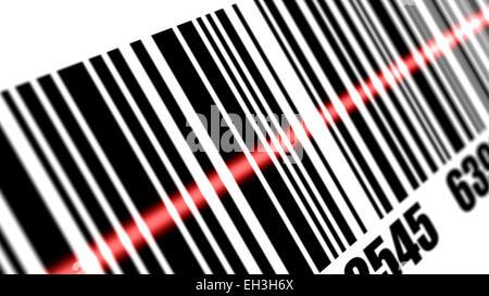 Scanner scannen von Barcodes auf mit weißem Hintergrund. Tiefe der Felder. - Stockfoto