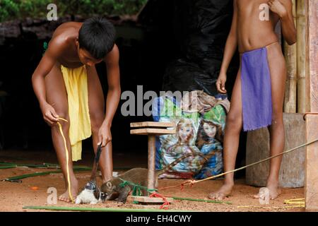 Panama, Darien Provinz Darien National Park als Weltkulturerbe der UNESCO, Embera Indianergemeinde aufgeführt, jungen Emberás spielen mit Haustiere