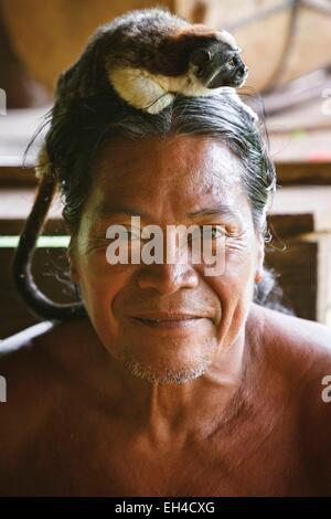 Panama, Darien Provinz Darien National Park, Weltkulturerbe der UNESCO, Embera Indianergemeinde, Porträt eines indigenen - Stockfoto