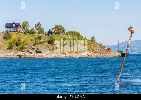 Norwegen, Oslo, Oslofjord, Wohn Häuser auf einer der vielen Inseln Fjord - Stockfoto