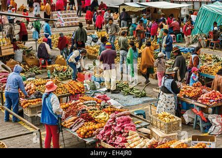 Ecuador, Cotopaxi, Zumbahua, das Dorf von Zumbahua Markttag, Gesamtansicht der Gärtner boomt - Stockfoto