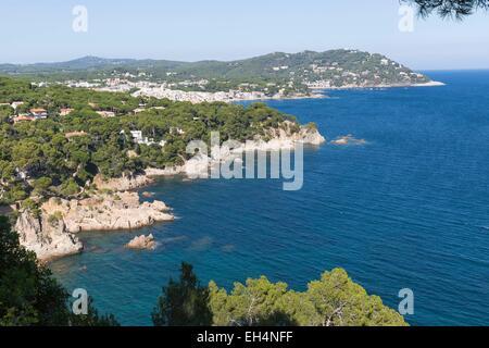 Spanien, Katalonien, Provinz Girona, Costa Brava, Calella de Palafrugell, der Küste gesehen von den Botanischen - Stockfoto