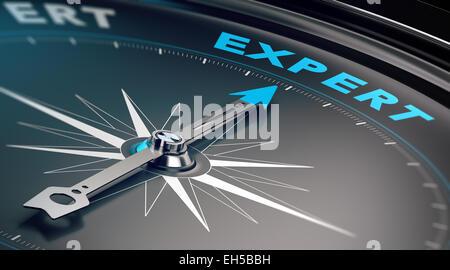 Kompass mit Nadel zeigt das Wort Experte, Konzept, Business consulting und Beratung zu illustrieren. - Stockfoto