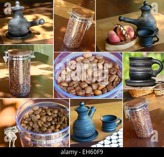 Konzept-Collage mit verschiedenen Bildern zum Thema Kaffee. - Stockfoto