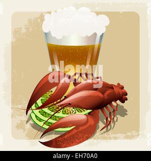 Abbildung mit vorbereiteten Hummer gegen Glas Bier im Vintage-Stil mit selbst gezogenen machte Grunge-Muster - Stockfoto