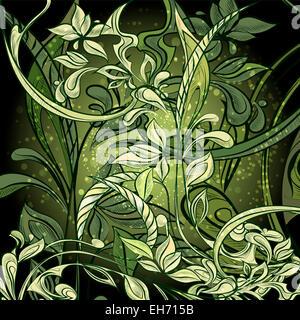 Abbildung mit Mitternacht Dschungel im Cartoon-Stil gezeichnet - Stockfoto