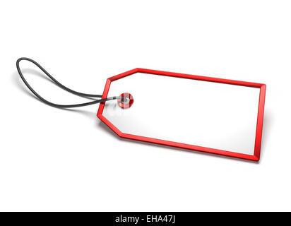 Leer leer Abzeichen mit rotem Rand und Schnur befestigt, isoliert auf weiss - Stockfoto