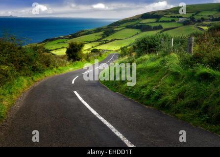 Straße in der Nähe von Torr Head mit grünen Wiesen im Hintergrund. Küste von Antrim-Nordirland - Stockfoto