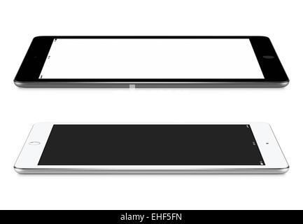 Schwarz / weiß-Tablet-PCs mit leeren Bildschirm Mockup liegen auf der Oberfläche, linken und rechten Seite Ansicht, - Stockfoto