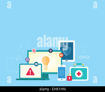 Computer-Datensicherheitskonzept mit sicheren Netzwerk zwischen verschiedenen Geräten wie Desktop, Laptop, Tablet - Stockfoto