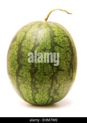 Reife ganze Wassermelone isoliert auf weißem Hintergrund - Stockfoto