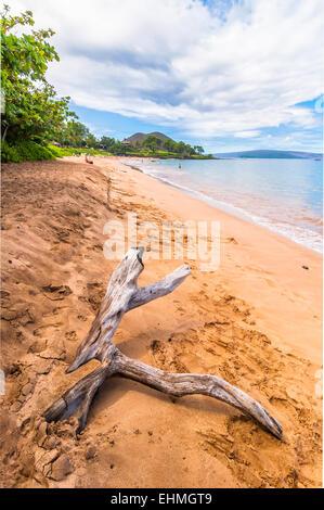 Tagesansicht von Makena Beach, beliebtes Ferienziel in Maui, Hawaii - USA - Stockfoto