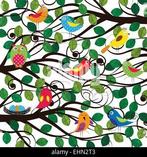 Frühling Baum mit bunten und lustigen Vögel - Stockfoto