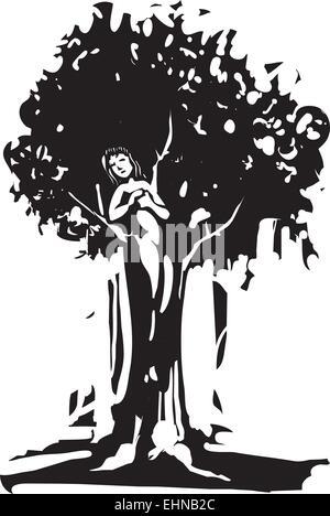 Holzschnitt Stil Bild des Geistes Dryade Baum vom griechischen Mythos. - Stockfoto