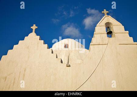 Die Kirche der Panagia Paraportiani ist eines der berühmtesten und fotografierte Kirche in Mykonos aller griechischen - Stockfoto
