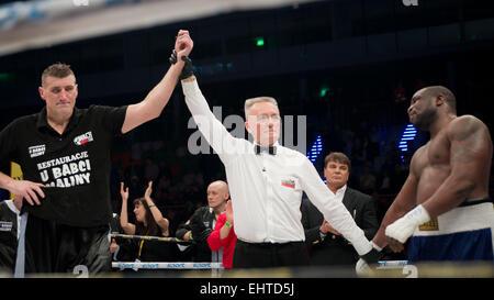 LUBIN, Polen - 14. März 2015: Profiboxen Kampf im Schwergewicht zwischen Mariusz Wach (schwarz kurz) und Gbenga - Stockfoto