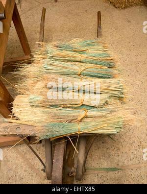 Broomcorn bereit, in einem Besen gebunden zu sein - Stockfoto