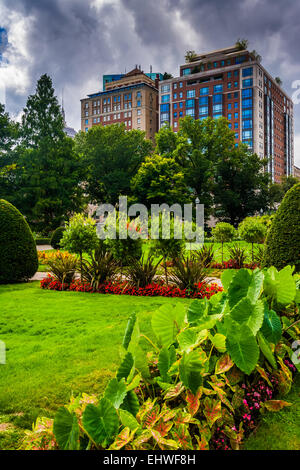 Gebäude aus der Public Garden in Boston, Massachusetts. - Stockfoto