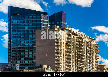 Moderne Wolkenkratzer in der Innenstadt von Boston, Massachusetts. - Stockfoto