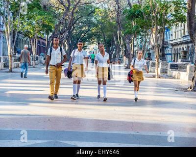 Vier Schüler der Sekundarstufe Havanna, drei Mädchen und ein Junge, gehen gemeinsam zur Schule in Havanna Vieja. - Stockfoto