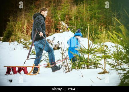 Vater und Sohn auf der Suche nach den perfekten Weihnachtsbaum - Stockfoto