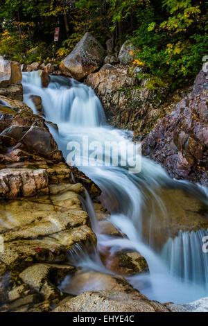 Wasserfall am felsigen Schlucht auf dem Kancamagus Highway, in White Mountain National Forest, New Hampshire. - Stockfoto