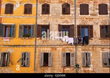 Istrien, Europa, Kroatien, draußen, Tag, niemand, Haus, Haus, Gebäude, Architektur, Old Town, Rovinj, Wäscheleine, - Stockfoto