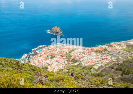 Panorama, Garachico, Teneriffa, Kanarische Inseln, Spanien, Europa, Dorf, Küste, - Stockfoto