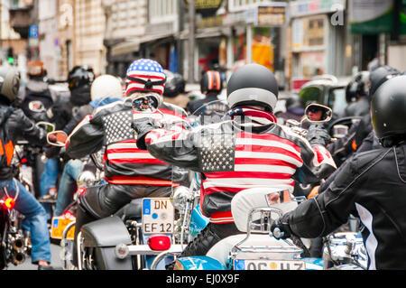 Biker, Demo-Reise, Deutschland, Europa, gegen Intoleranz, Köln, Nordrhein Westfalen, Verkehr, Nordrhein-Westph - Stockfoto