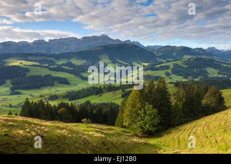 Ansicht, Hundwiler Höhe, Hundwil Höhe, Schweiz, Europa, Kanton Appenzell, Ausserrhoden, Aussichtspunkt, Blick auf - Stockfoto